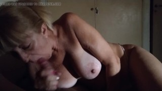 Dry Teen  : Blowjob and facial in busty danish mom from tøseu