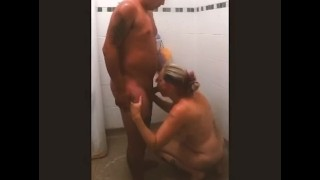 Dry Teen  : Mom joins stepson in the shower and let's him cum in her mouth