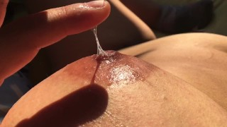 Dry Teen  : Massaging my boobs with my own vaginal fluids  Nipple playing