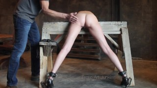 Dry Teen  : She is Bound Spanked and Fucked over a Sawhorse