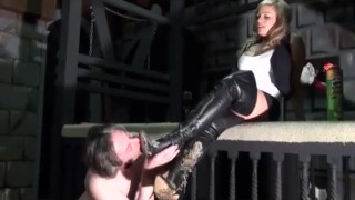 Dry Teen  : Cruel Mistress in Dirty Leather Boots Orders Slave to Lick amp Eat Dirt