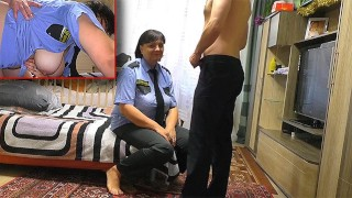 Dry Teen  : Stepmom in police uniform blowjob son and anal sex big ass